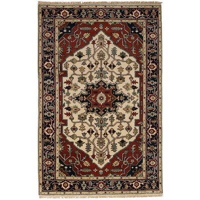 One-of-a-Kind Briggs Hand Knotted Wool Cream/Dark Red Area Rug