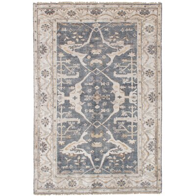 One-of-a-Kind Monahan Hand Knotted Silk Dark Gray Area Rug