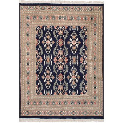 One-of-a-Kind Onondaga Hand Knotted Wool Dark Navy Area Rug