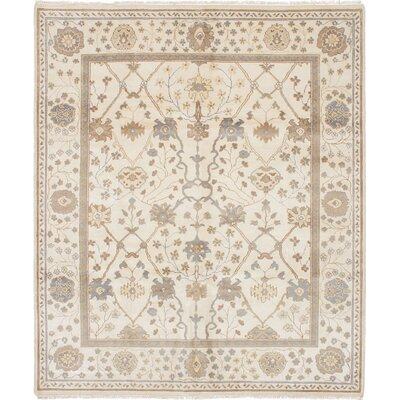 One-of-a-Kind Li Hand Knotted Wool Cream Area Rug