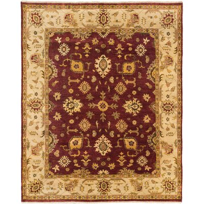 One-of-a-Kind Li Hand Knotted Wool Dark Red Area Rug