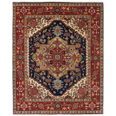 One-of-a-Kind Briggs Hand Knotted Wool Dark Navy/Red Area Rug