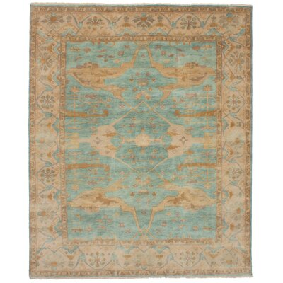 One-of-a-Kind Li Hand Knotted Wool Cyan Area Rug