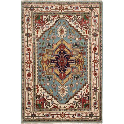 One-of-a-Kind Briggs Hand Knotted Wool Sky Blue Area Rug