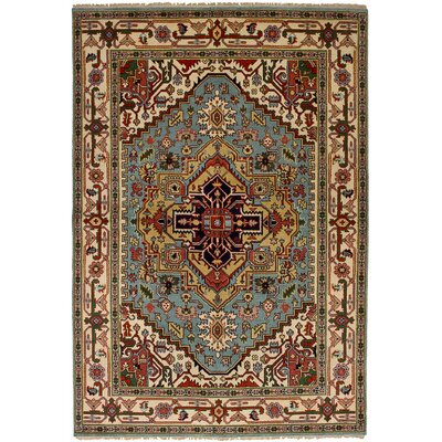 One-of-a-Kind Briggs Hand Knotted Wool Turquoise Area Rug
