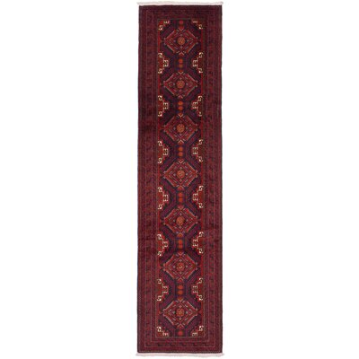 One-of-a-Kind Rivas Hand Knotted Wool Dark Navy/Red Area Rug