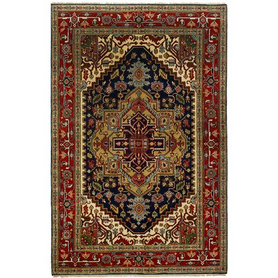 One-of-a-Kind Briggs Hand Knotted Wool Navy Blue/Red Area Rug