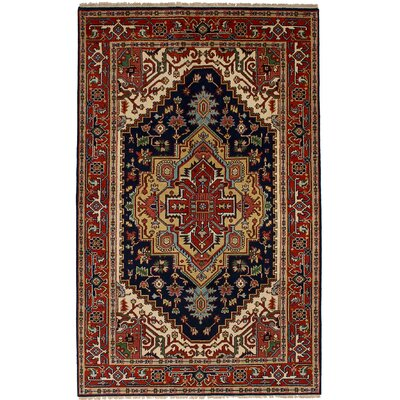 One-of-a-Kind Briggs Hand Knotted Wool Navy/Red Area Rug