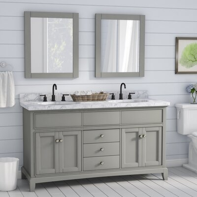 McCall Solid Wood 61 Single Bathroom Vanity Set with Mirror Base Finish: Gray