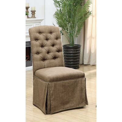 Eleanora Transitional Upholstered Dining Chair Upholstery: Brown