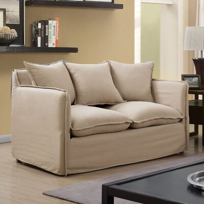 Kamanda Transitional Loveseat Upholstery: Beige