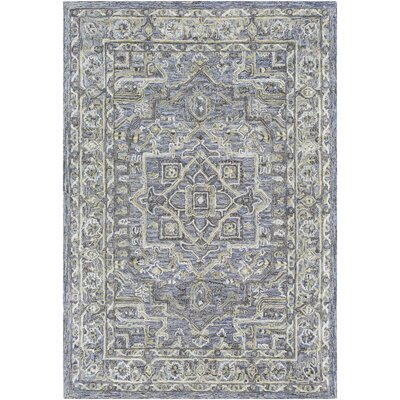 Jambi Traditional Hand-Tufted Wool Light Green/Purple Area Rug Rug Size: Rectangle 7 x 9