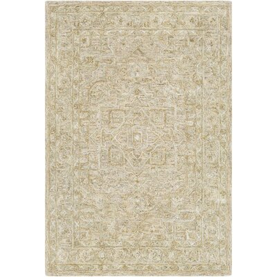 Jambi Traditional Hand Tufted Wool Tan/Beige Area Rug Rug Size: Rectangle 4 x 6