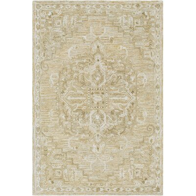 Jambi Traditional Hand-Tufted Wool Tan/Ivory Area Rug Rug Size: Rectangle 5 x 76