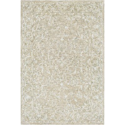 Jambi Traditional Hand-Tufted Wool Tan Area Rug Rug Size: Rectangle 7' x 9'