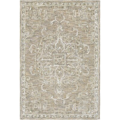 Jambi Traditional Hand-Tufted Wool Taupe Area Rug Rug Size: Rectangle 4 x 6