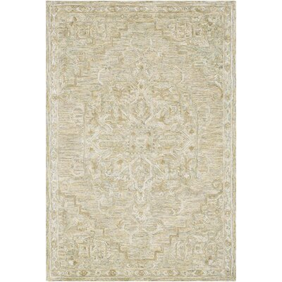 Jambi Traditional Hand Tufted Wool Khaki/Tan Area Rug Rug Size: Rectangle 5 x 76