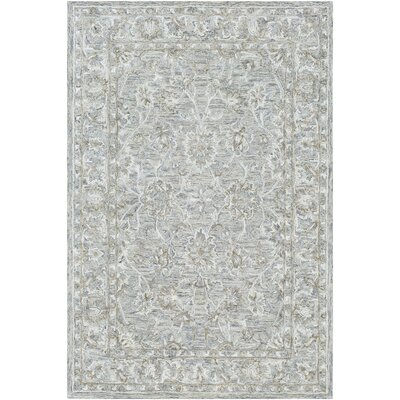 Jambi Traditional Hand-Tufted Wool Light Blue/Camel Area Rug Rug Size: Rectangle 4 x 6