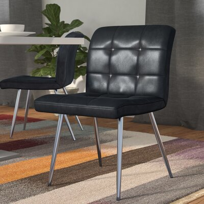 Amber Upholstered Dining Chair Side Chair Upholstery: Black