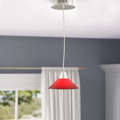 Wilton 1-Light Inverted Pendant Base Finish: Satin Nickel, Shade Color: Yellow