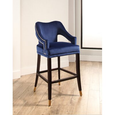 Keesler 31.1 Bar Stool Color: Navy Blue