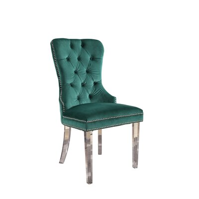 Braelyn Tufted Upholstered Dining Chair Upholstery: Emerald Green