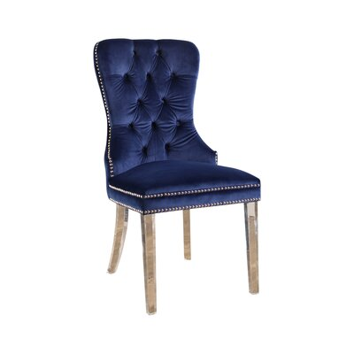 Braelyn Tufted Upholstered Dining Chair Upholstery: Navy Blue