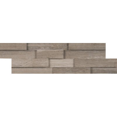 Mini Ledger Panel Marble Wood Look/Mosaic Tile in Gray/Oak