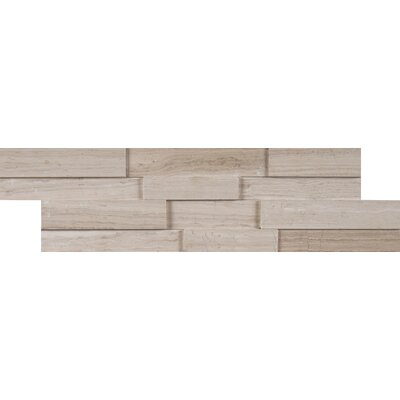 Mini Ledger Panel Marble Wood Look/Mosaic Tile in White/Oak