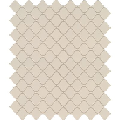 Domino Arabesque Mesh Mounted Porcelain Mosaic Tile in Almond