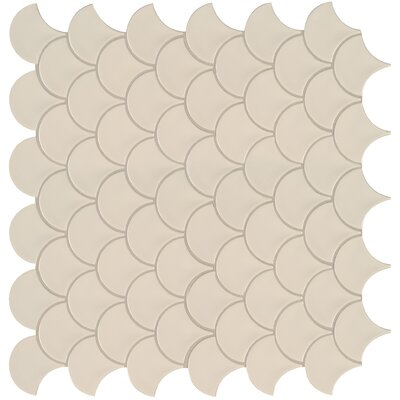 Domino Fish Scale Mesh Mounted 10.2 x 10.74 Porcelain Mosaic Tile in Almond
