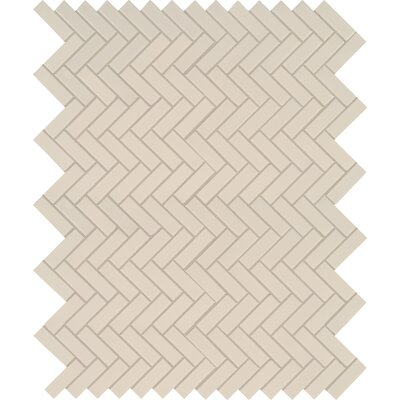 Domino Herringbone Mesh Mounted Porcelain Mosaic Tile in Almond