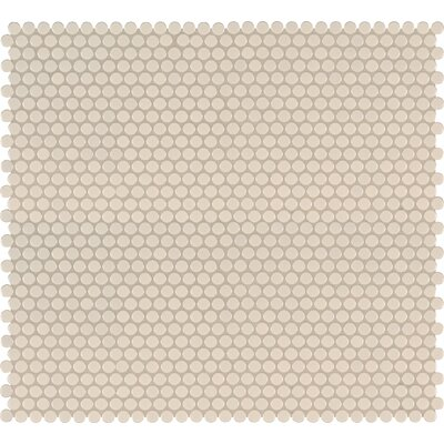 Domino Penny Mesh Mounted Porcelain Mosaic Tile in Almond