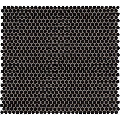 Domino Penny Mesh Mounted Porcelain Mosaic Tile in Black