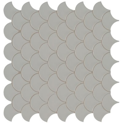 Domino Fish Scale Mesh Mounted Porcelain Mosaic Tile in Gray