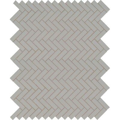 Domino Herringbone Mesh Mounted Porcelain Mosaic Tile in Gray