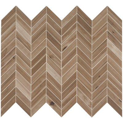 Havenwood Saddle Chevron Glazed Mesh Mounted Porcelain Wood Look/Mosaic Tile in Brown