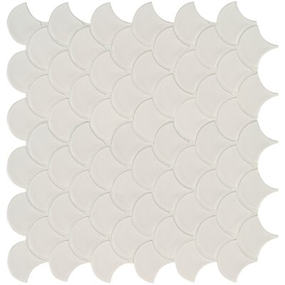 Domino Fish Scale Mesh Mounted Porcelain Mosaic Tile in White