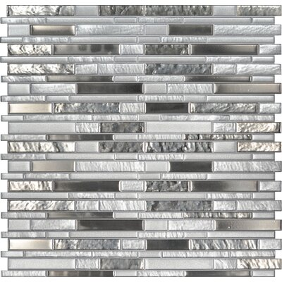 Adara Interlocking Mesh-Mounted Glass Mosaic Tile in White