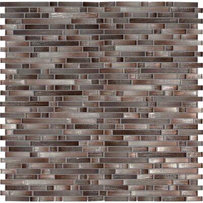 Akaya Copper Interlocking Mesh-Mounted Glass Mosaic Tile in Gray