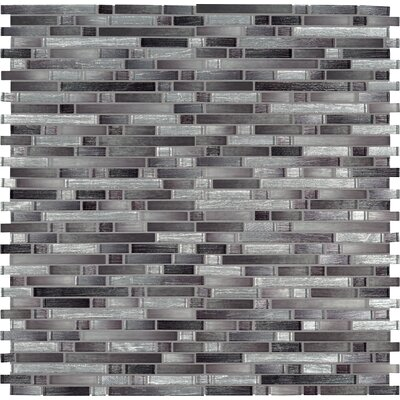 Akaya Nero Interlocking Mesh-Mounted Glass Mosaic Tile in Black