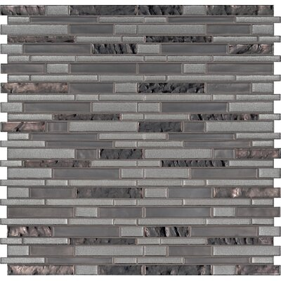 Zamora Interlocking Mesh-Mounted Glass Mosaic Tile in Gray
