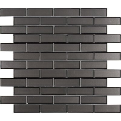 Metal Bevel Mesh-Mounted Brick 2 x 6 Glass Subway/Mosaic Tile in Gray