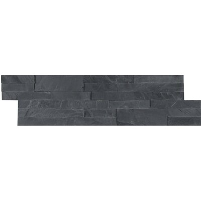 Midnight Ash Veneer Peel and Stick Natural Slate Subway Tile in Black