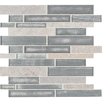 Evita Ice Interlocking Stone Mesh-Mounted Glass Mosaic Tile in Gray