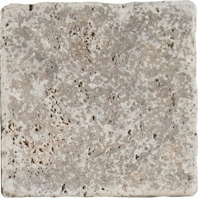Tumbled 6 x 6 Travertine Field Tile in Gray