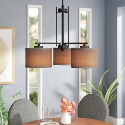 Juhasz 3-Light Drum Chandelier Finish: Bronze, Shade Color: Gray