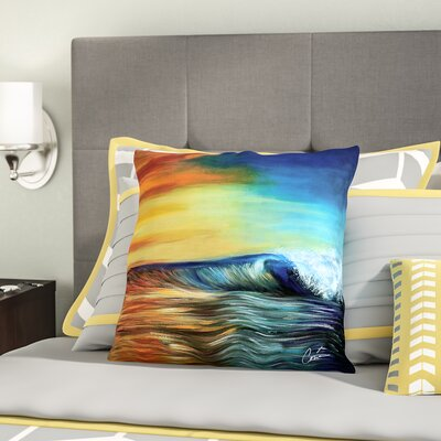 Wave Throw Pillow Size: 16 H x 16 W x 4 D