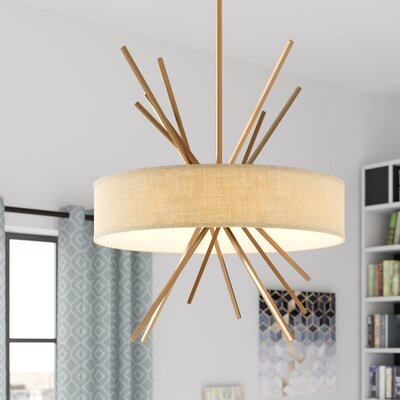 Byler 5-Light Drum Pendant Base Finish: Matte Gold