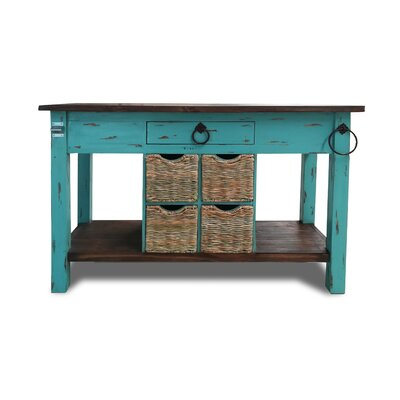 Bruno Kitchen Island Base Finish: Turquoise